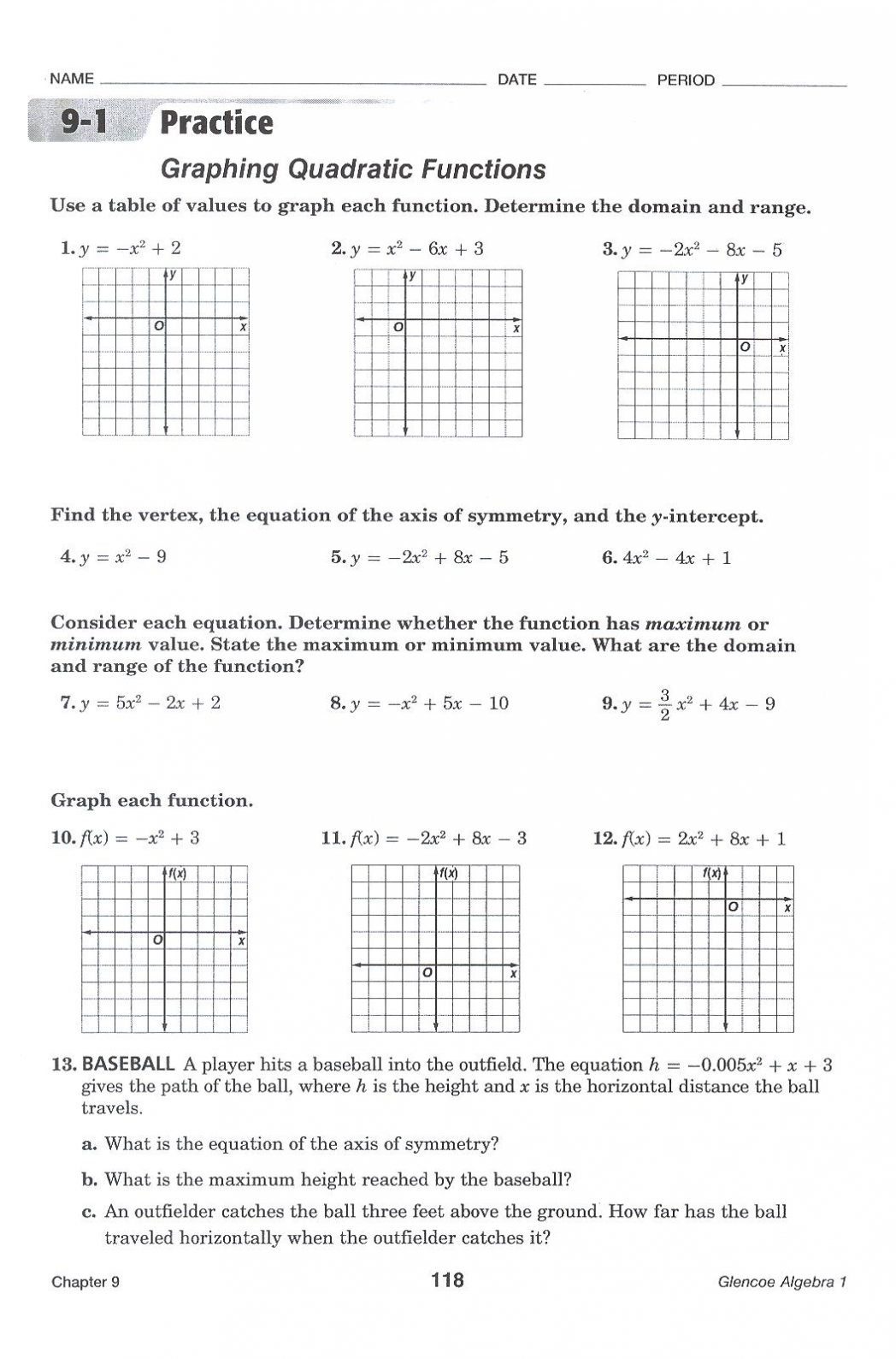 Quadratic Functions Practice Worksheets Worksheets For All