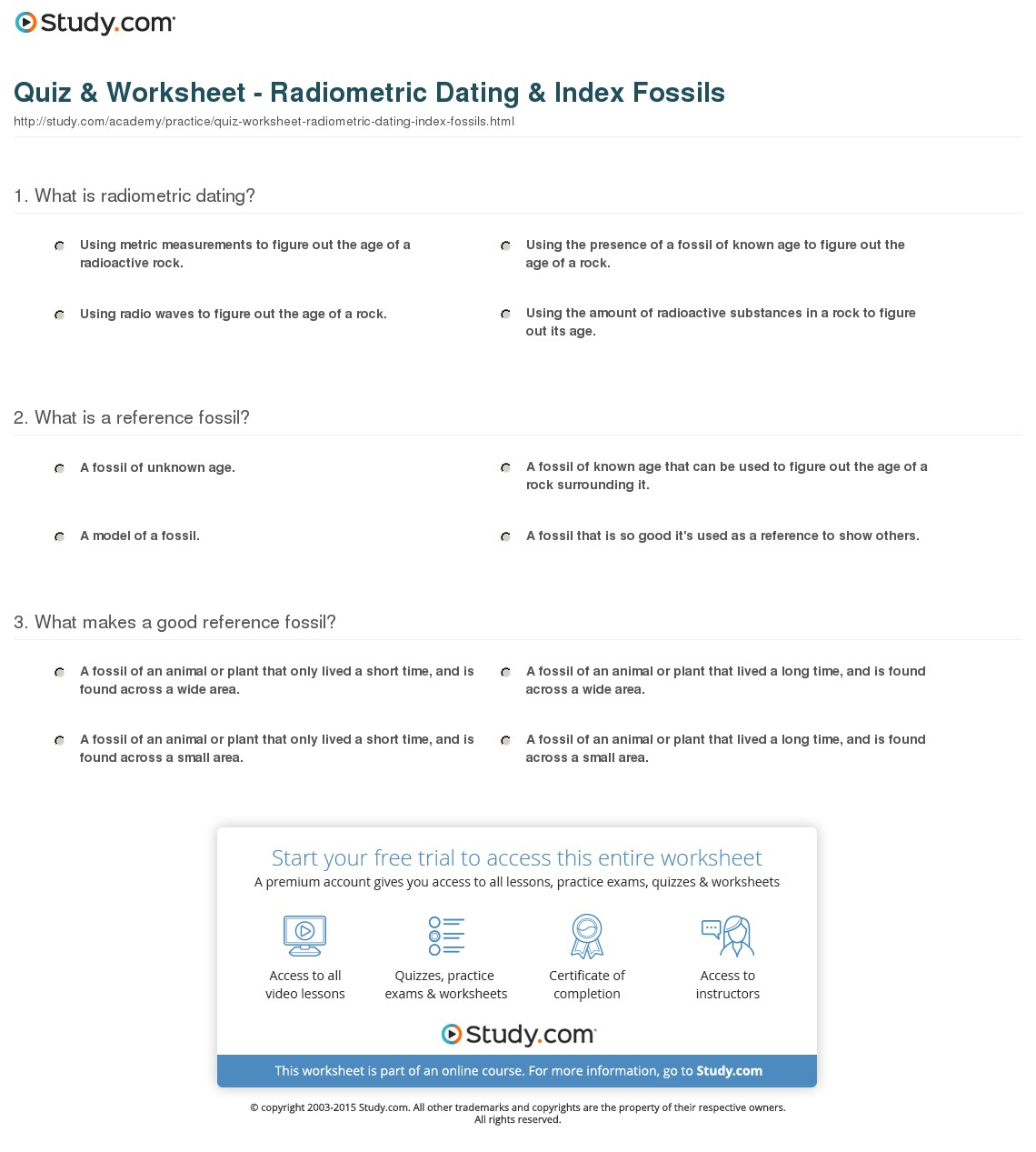 Radioactive Dating Worksheets