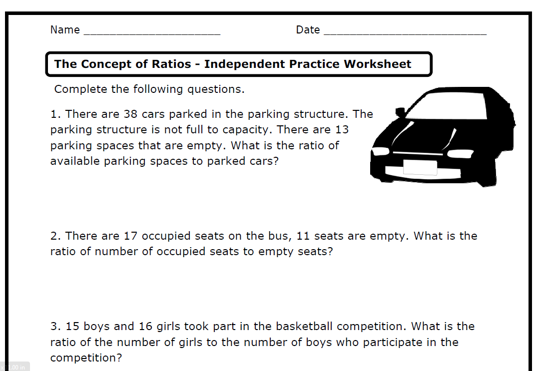 Ratios (6 Rp A 1  2  3  A  B  C  D) – Printable Worksheets – The