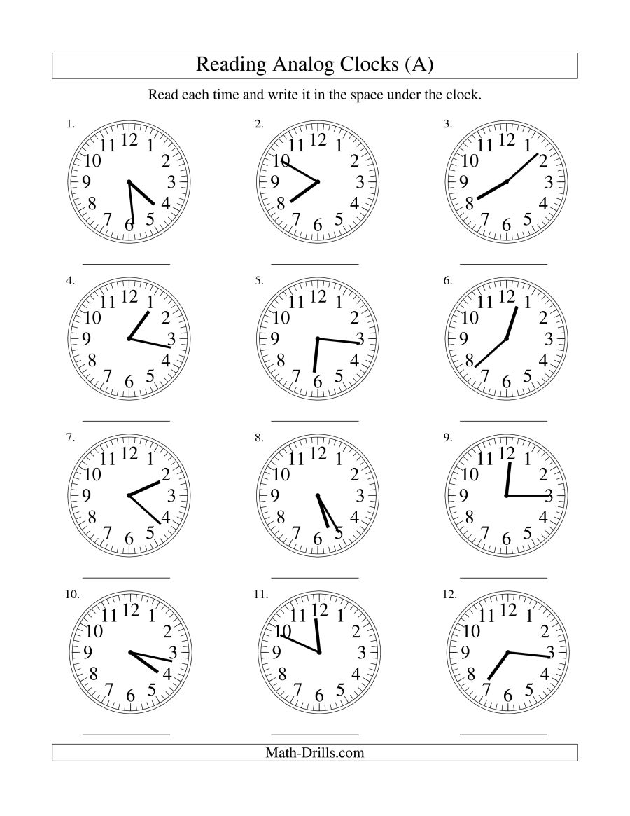 Reading Time On An Analog Clock In 1 Minute Intervals (a)