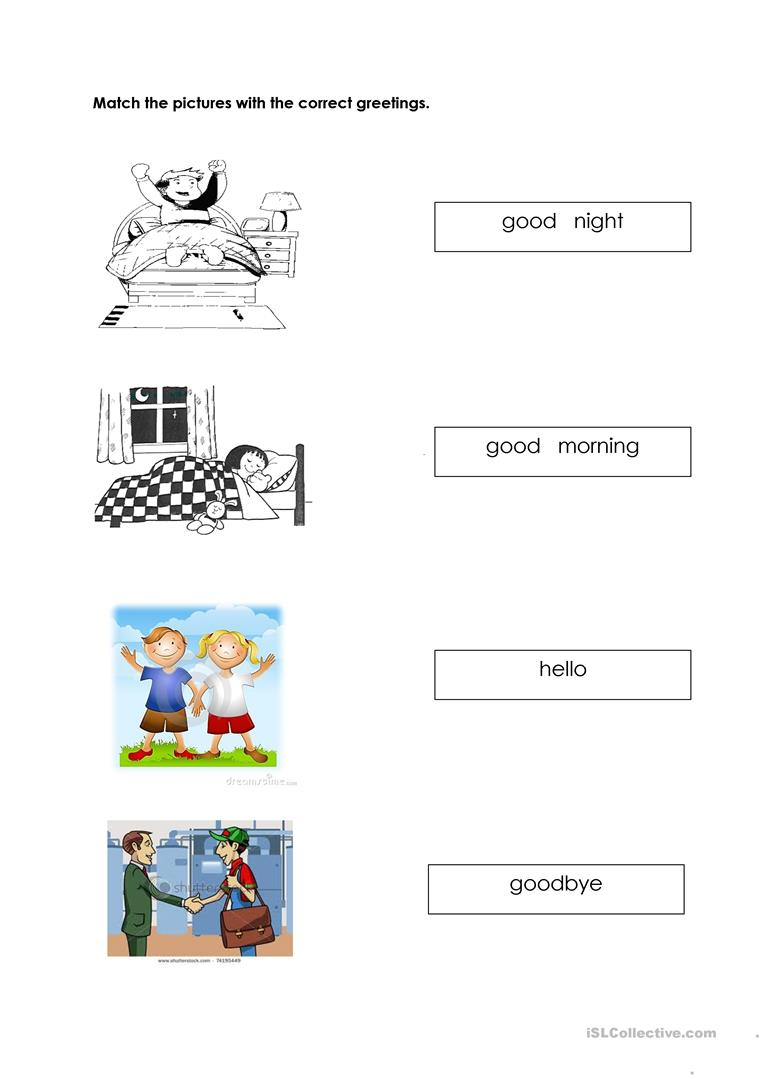 Remarkable Greetings Worksheet For Preschool On 154 Free Esl