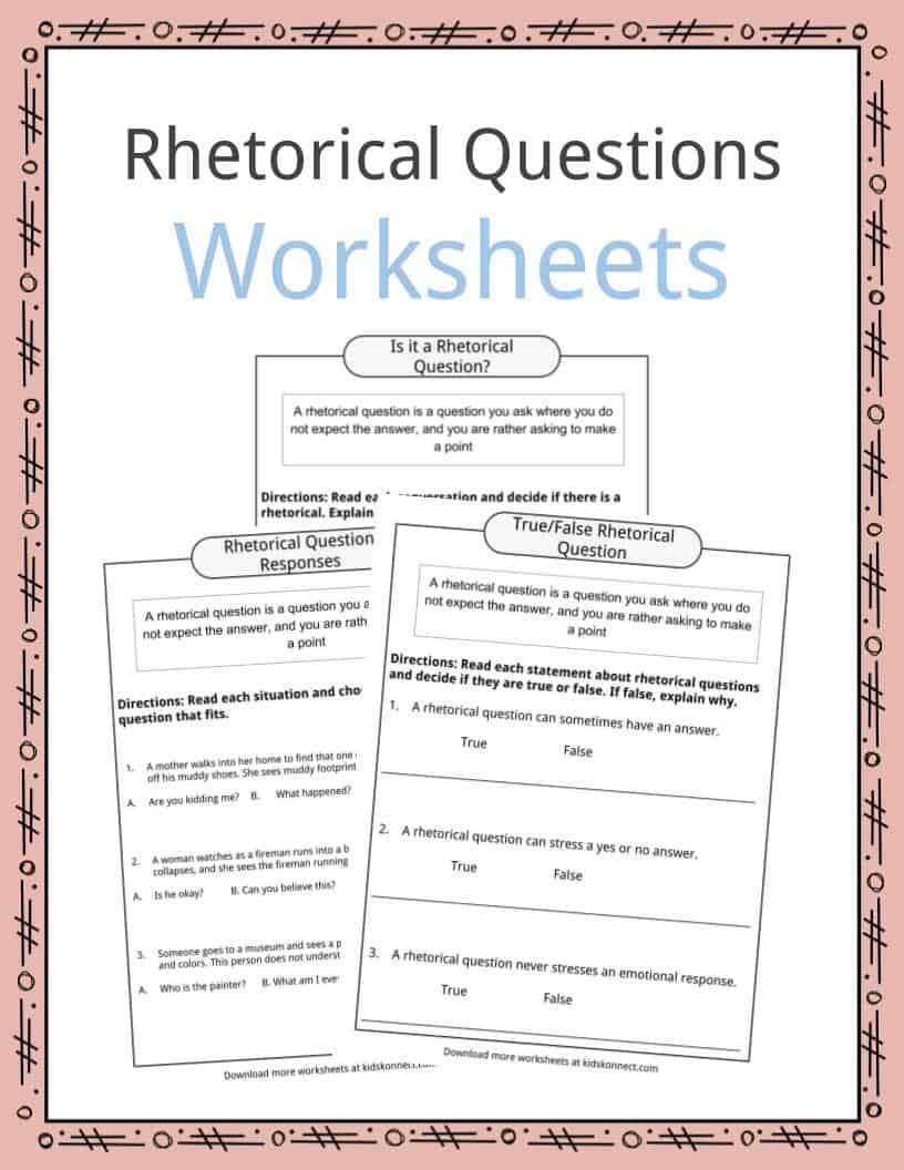 Rhetorical Question Worksheets, Examples & Definition For Kids