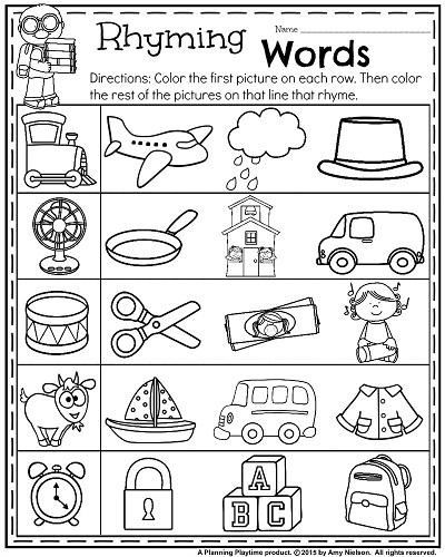 Rhyming Words Printable Worksheets For Kindergarten