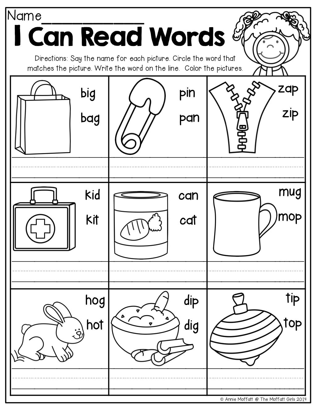 Rhyming Words Worksheet For Kindergarten I Can Read Kinderland