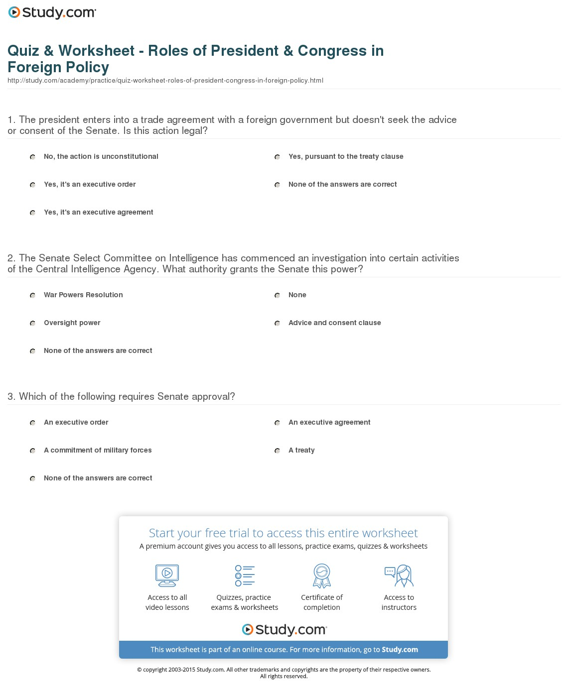Roles Of The President Worksheet  Worksheets  Kristawiltbank Free