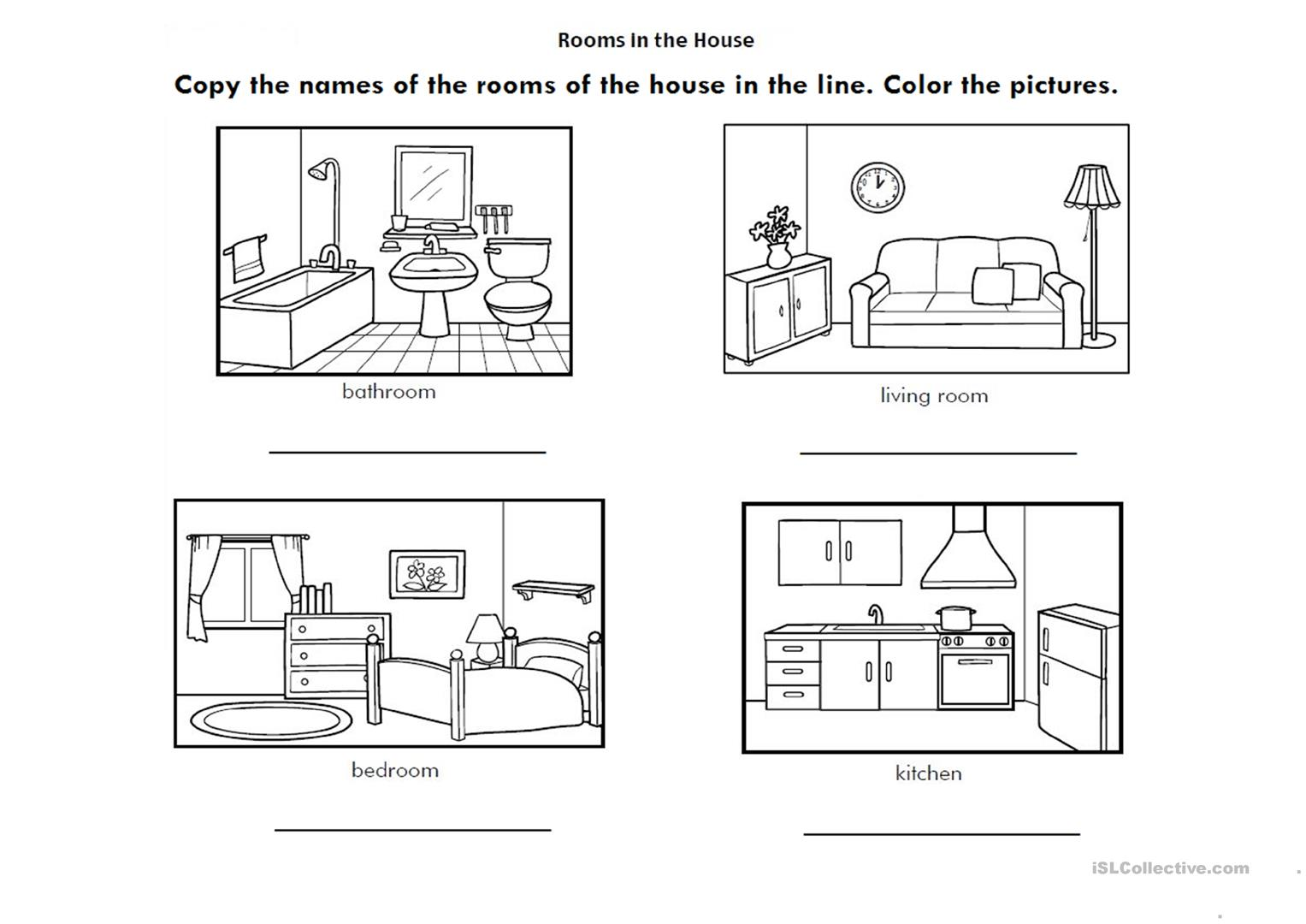 Rooms In House Worksheets