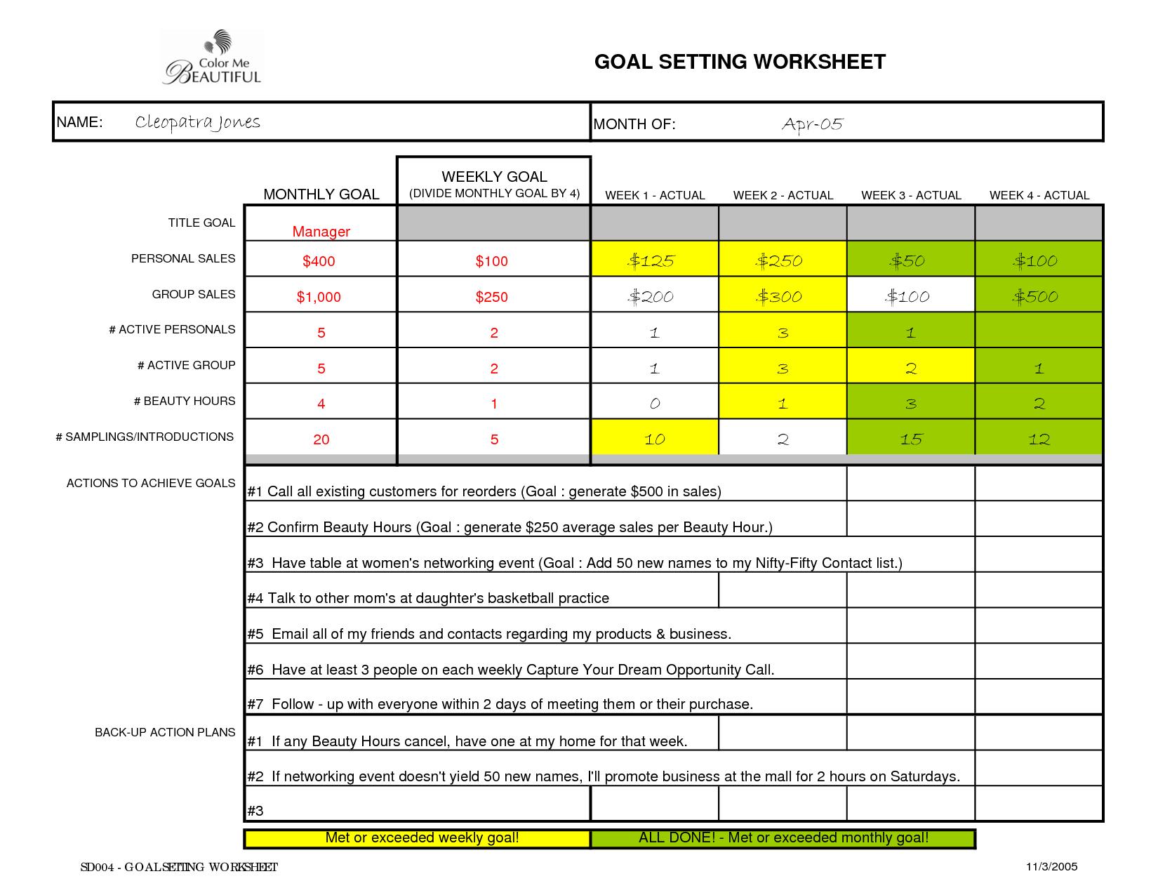 Sales Goal Setting Worksheet