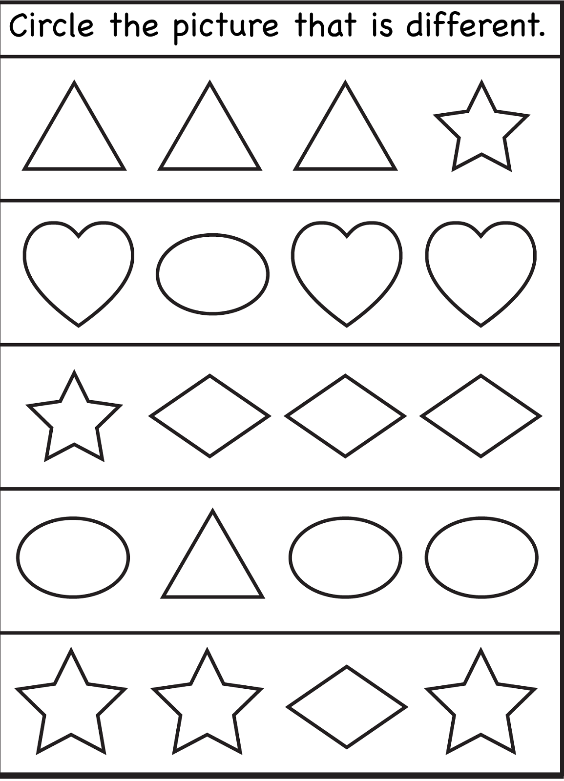 Same And Different Preschool Worksheets Worksheets For All