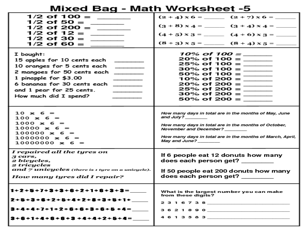 Saxon Math Worksheets Fifth Grade
