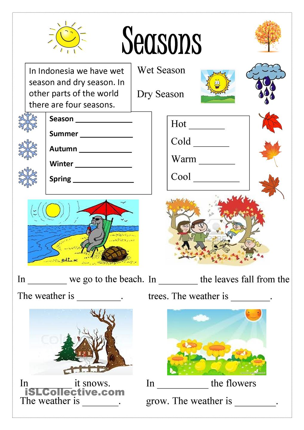 Season English Pinterest Worksheets And Lessons Kindergarten
