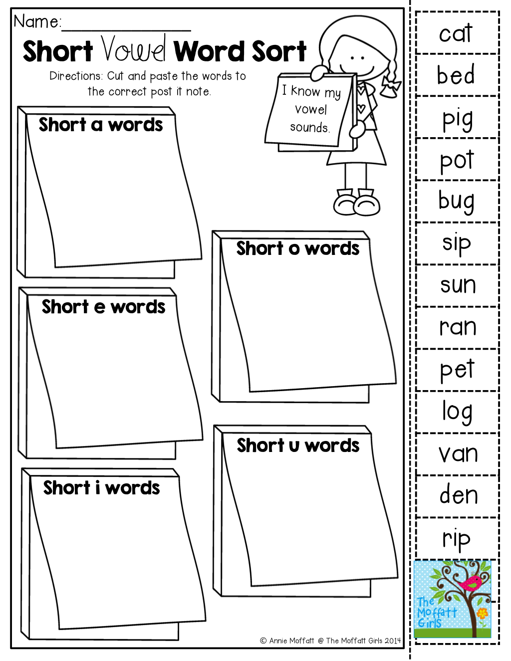 Short Vowel Word Sort (cut And Paste)! Tons Of Back To School