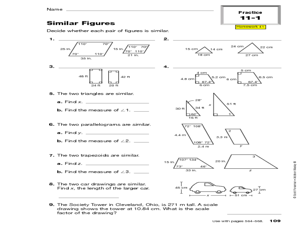 Similar Figures Worksheets Worksheets For All
