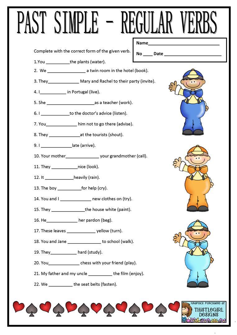 Simple Past Regular Verbs Worksheets