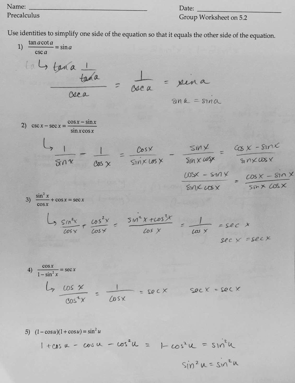 Solving Trig Equations With Pythagorean Identities Worksheet