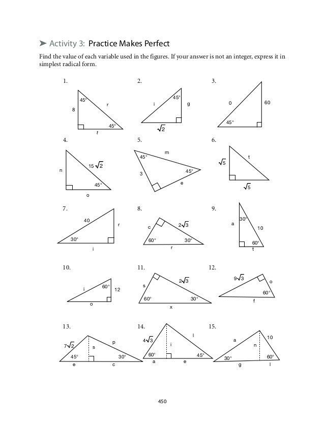 Special Right Triangles Worksheet With Answers