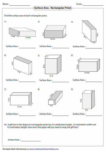 Surface Area And Volume Of Rectangular Prisms Worksheets The Best