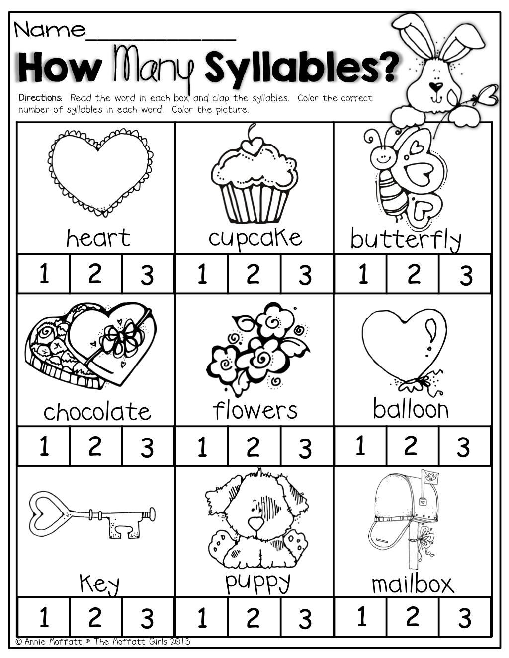Syllable Worksheets Kindergarten Koogra February No Prep Packet