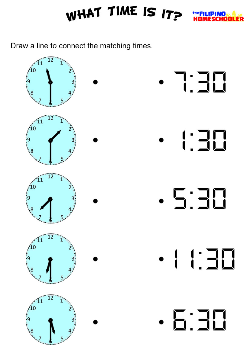Telling Time To The Hour And Half Hour Worksheets Worksheets For