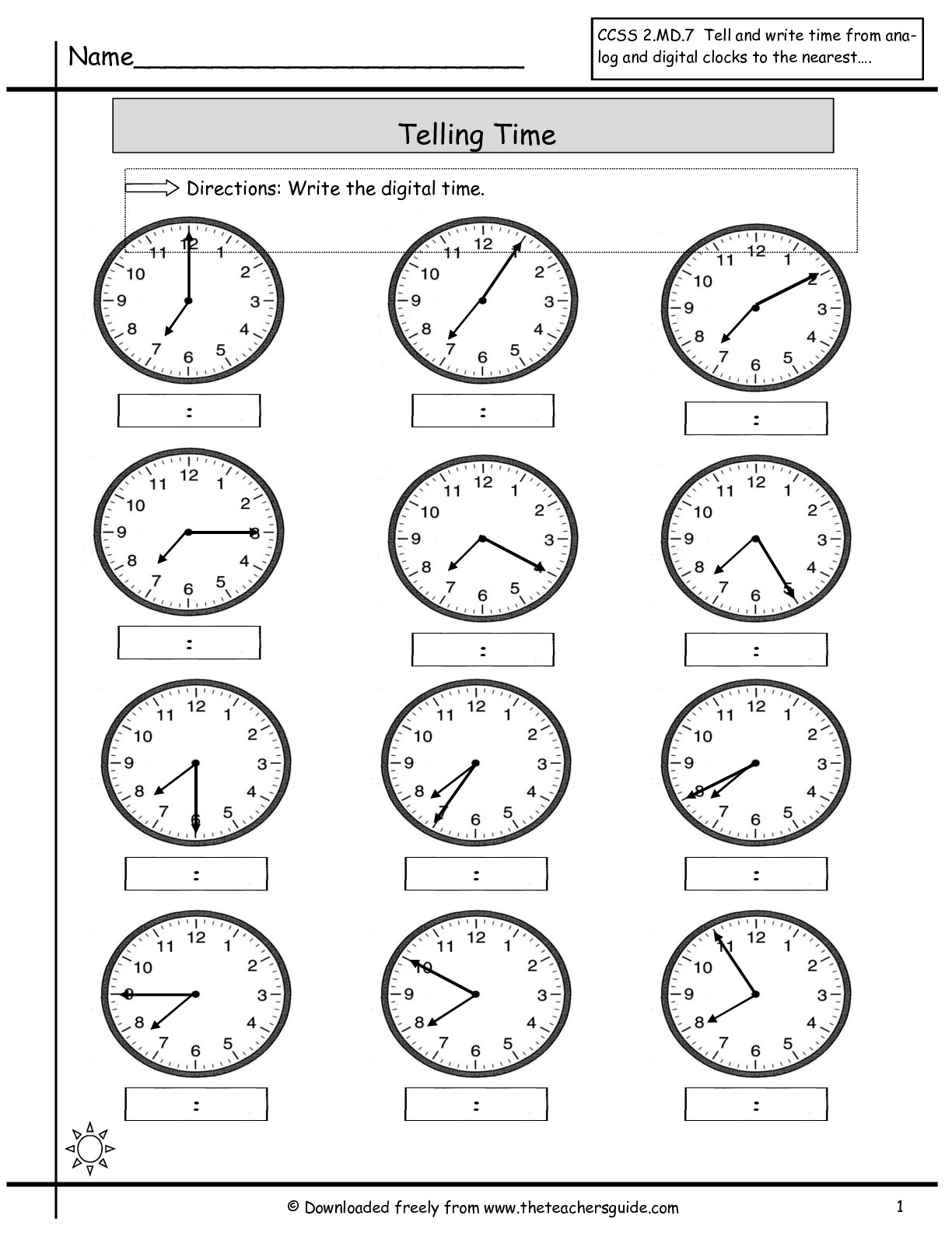 Telling Time Worksheet Grade 2 Comparing And Ordering Integers
