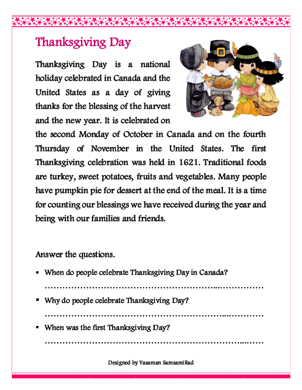 Thanksgiving Reading Comprehension Worksheets The Best Worksheets