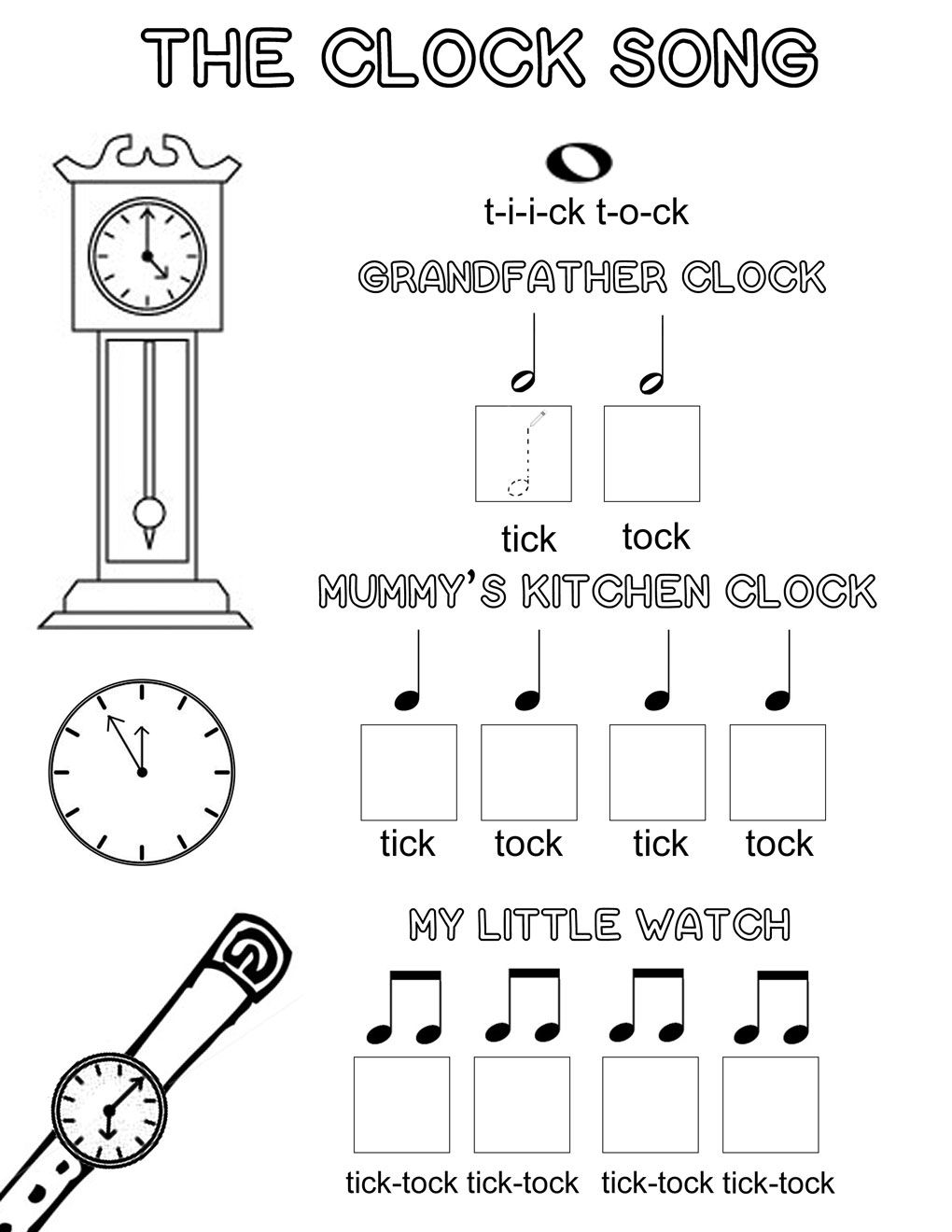 The Clock Song  An Easy Way To Learn Musical Note Values