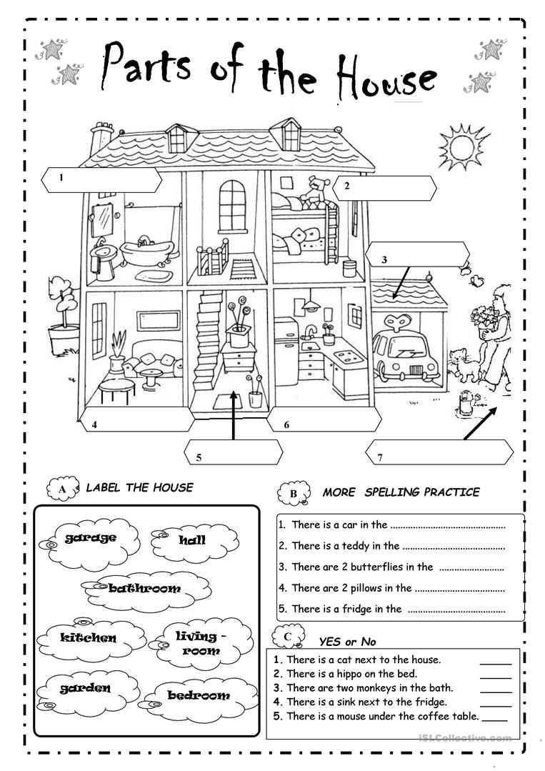 The Parts Of The House Worksheets