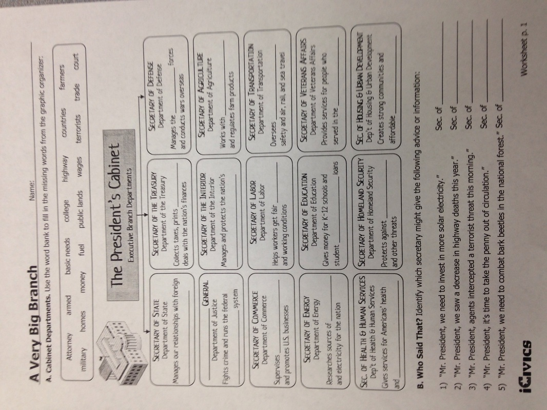 Powers Of The President Worksheets