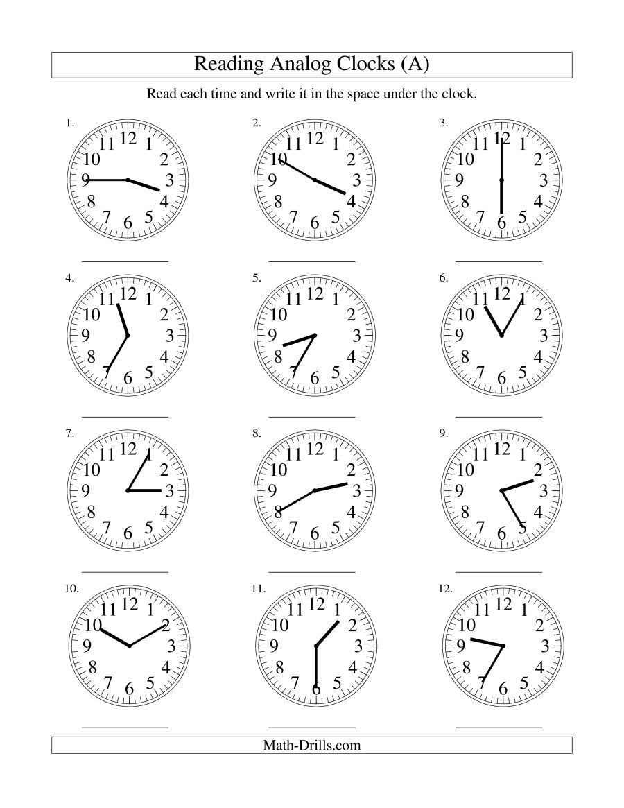 The Reading Time On An Analog Clock In 5 Minute Intervals (a) Math