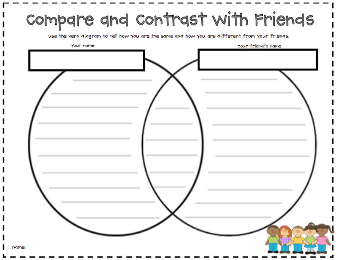 Compare Contrast Worksheet First Grade Venn Diagram Pare And