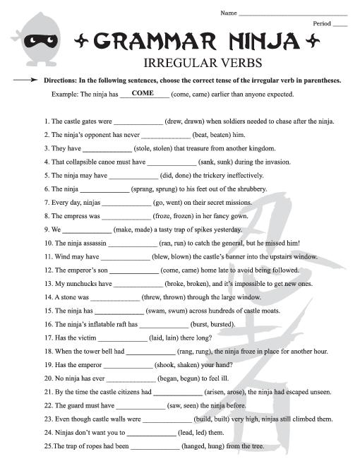 Third Grade Grammar Worksheet The Best Worksheets Image Collection