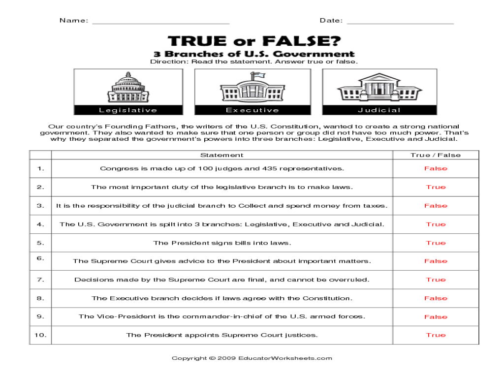 Three Branches Of Government Worksheet Answers Worksheets For All