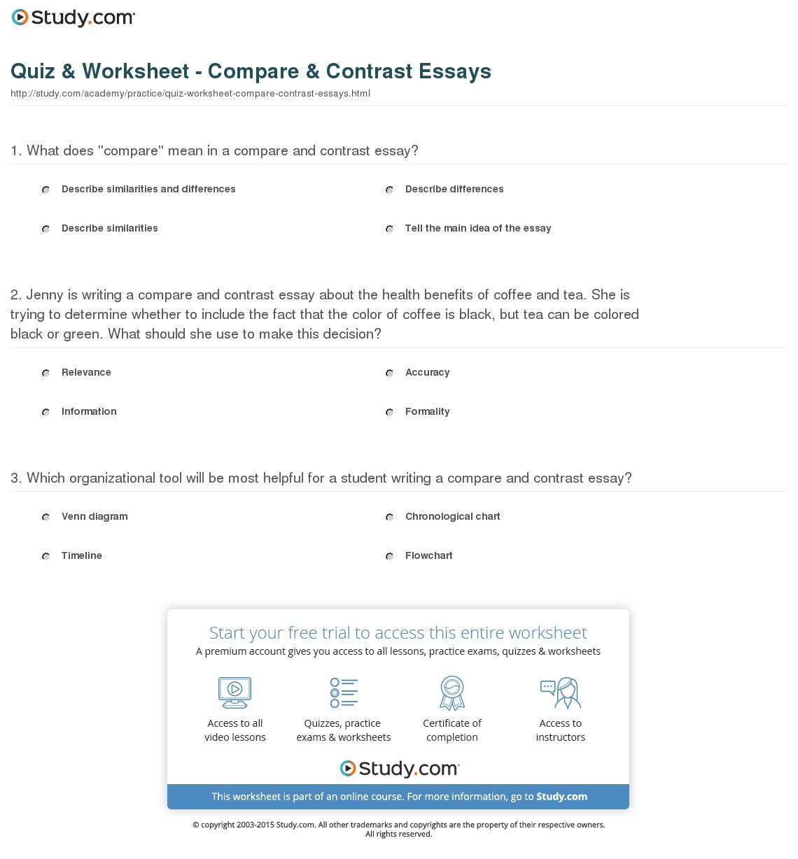 Topics To Compare Quiz Worksheet Compare Contrast Essays Com 17