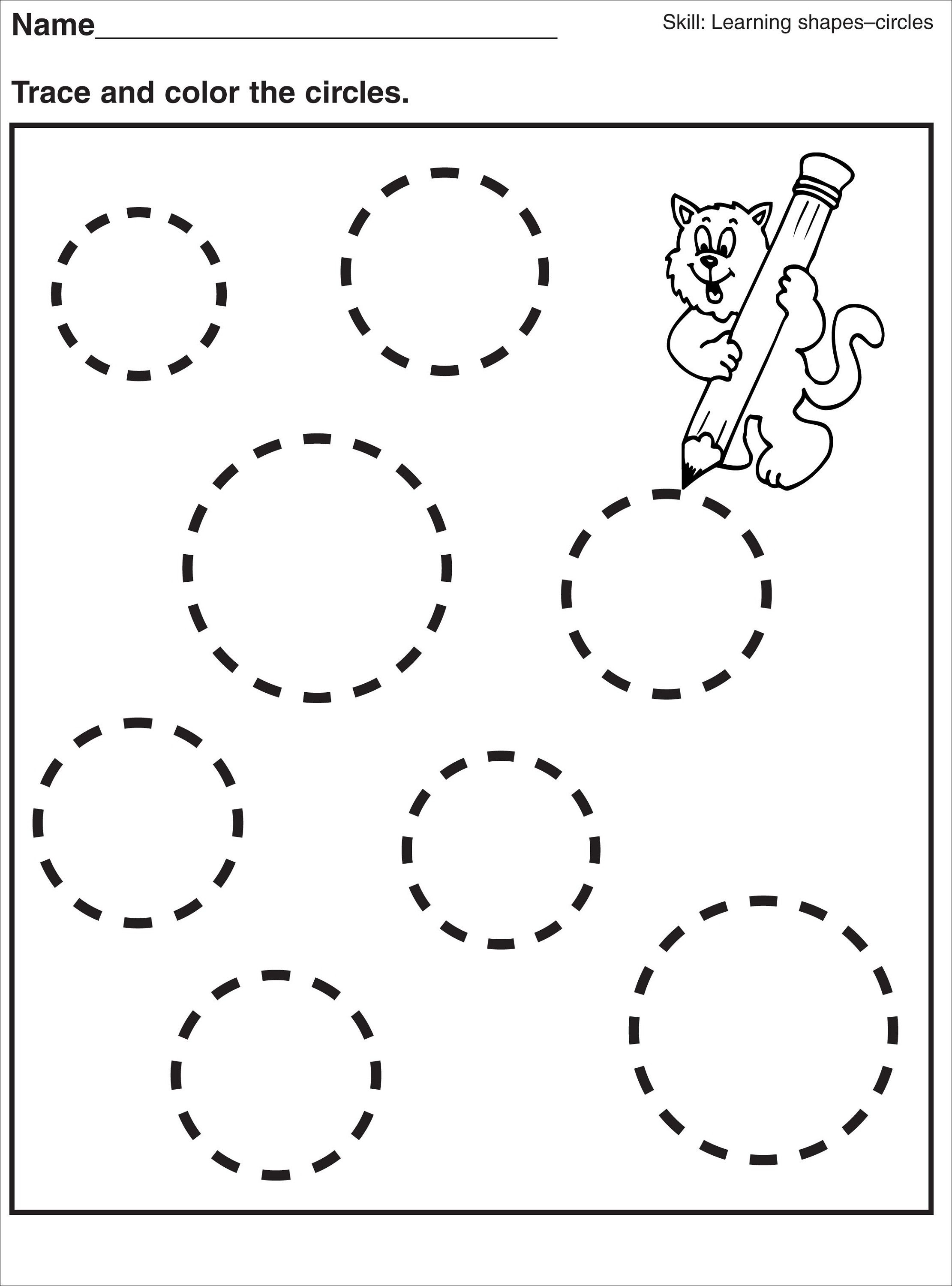 Tracing Circle Worksheets For Preschool Activity Shelter Kids