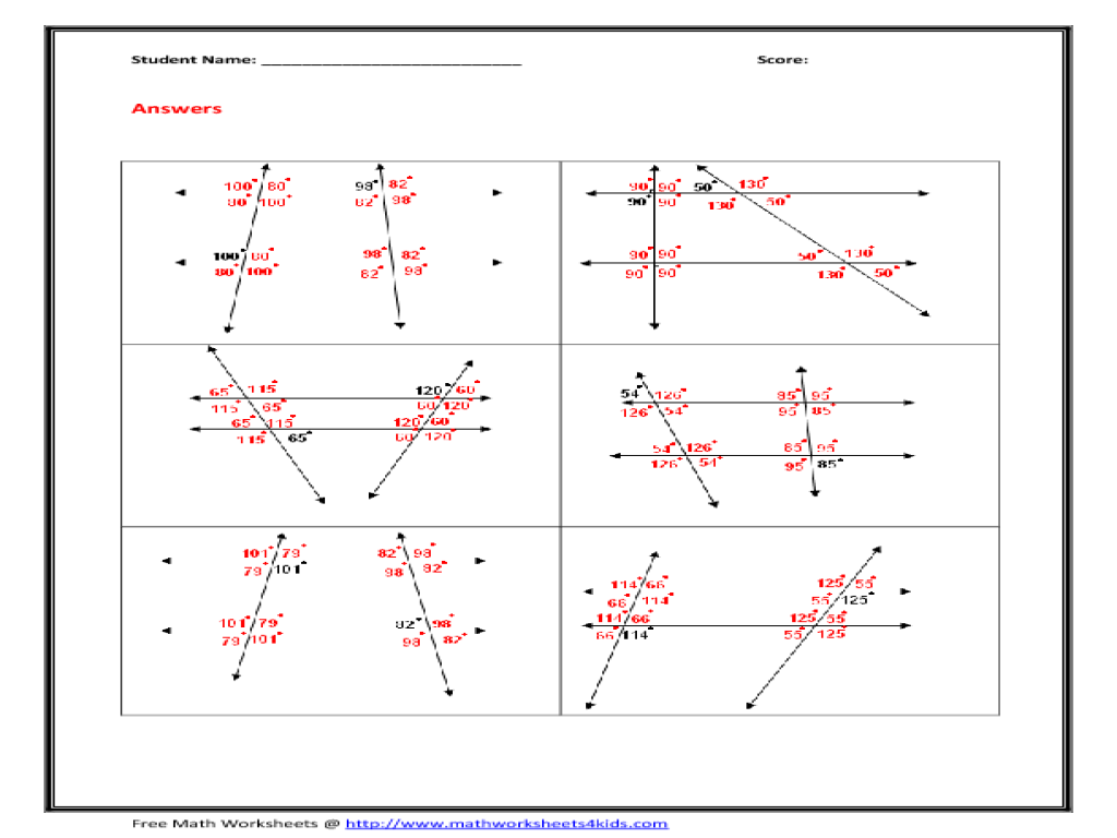 Transversals And Parallel Lines Worksheet Worksheets For All