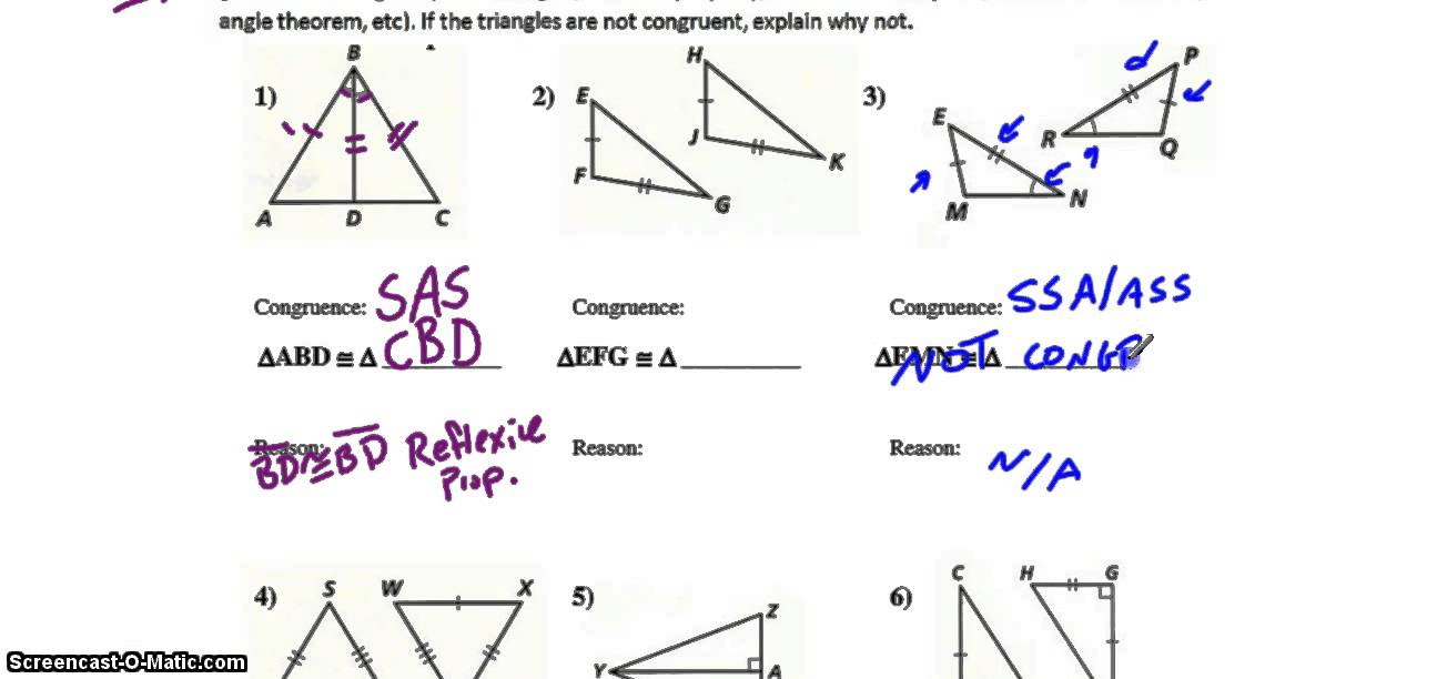 Triangle Congruence, Tier 2  Triangle Congruence Worksheet