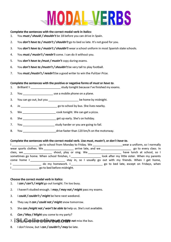 Ultimate Grammar Worksheets For Modals On Resultado De Imagen Para