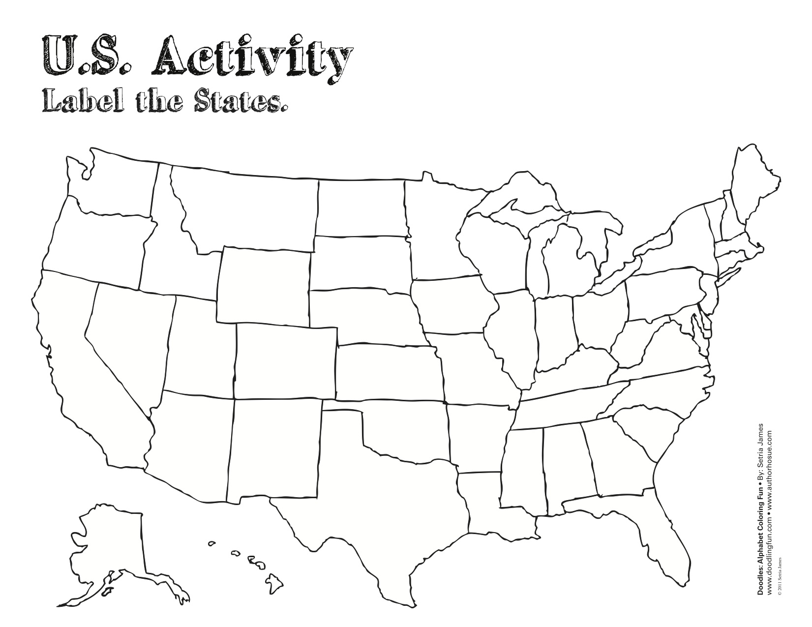 Usa Blank Printable Map State Royalty And Worksheet Outline For