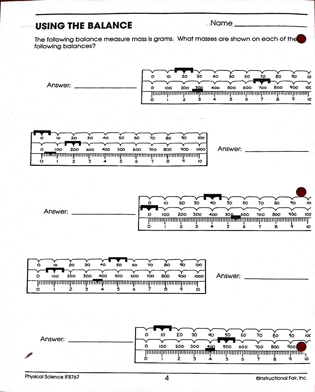 Using A Triple Beam Balance Worksheets