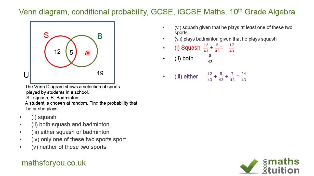 Venn Diagram, Conditional Probability, Gcse, Igcse Maths, 10th