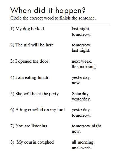 Verb Tenses Worksheet Year 5