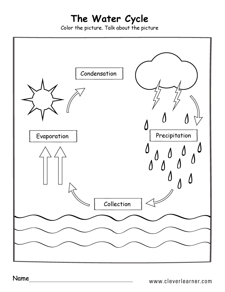Water Cycle Printable Free Coloring Library