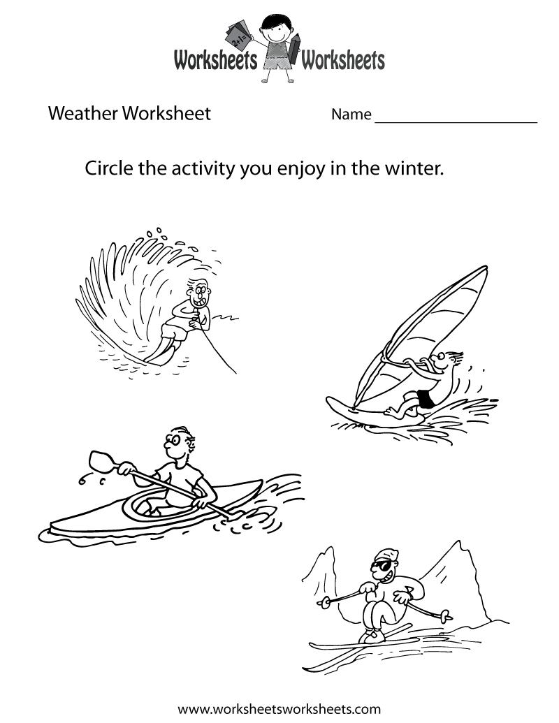 Weather Worksheet For Kids Printable