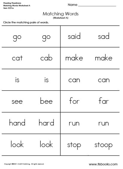 Word Match Worksheets The Best Worksheets Image Collection