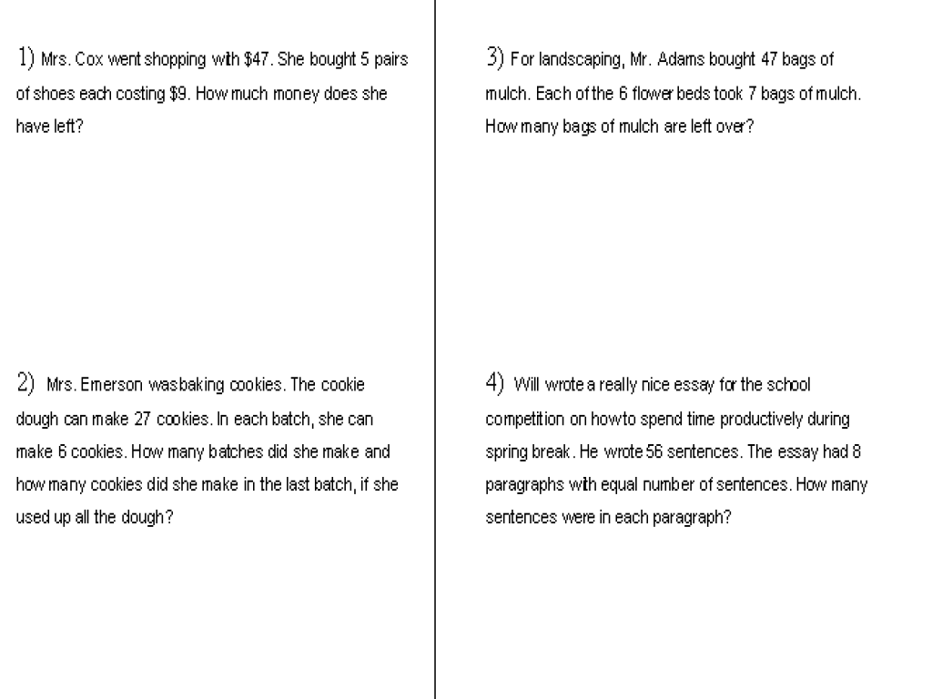 Word Problems Multiplication And Division 3rd Grade Common Core