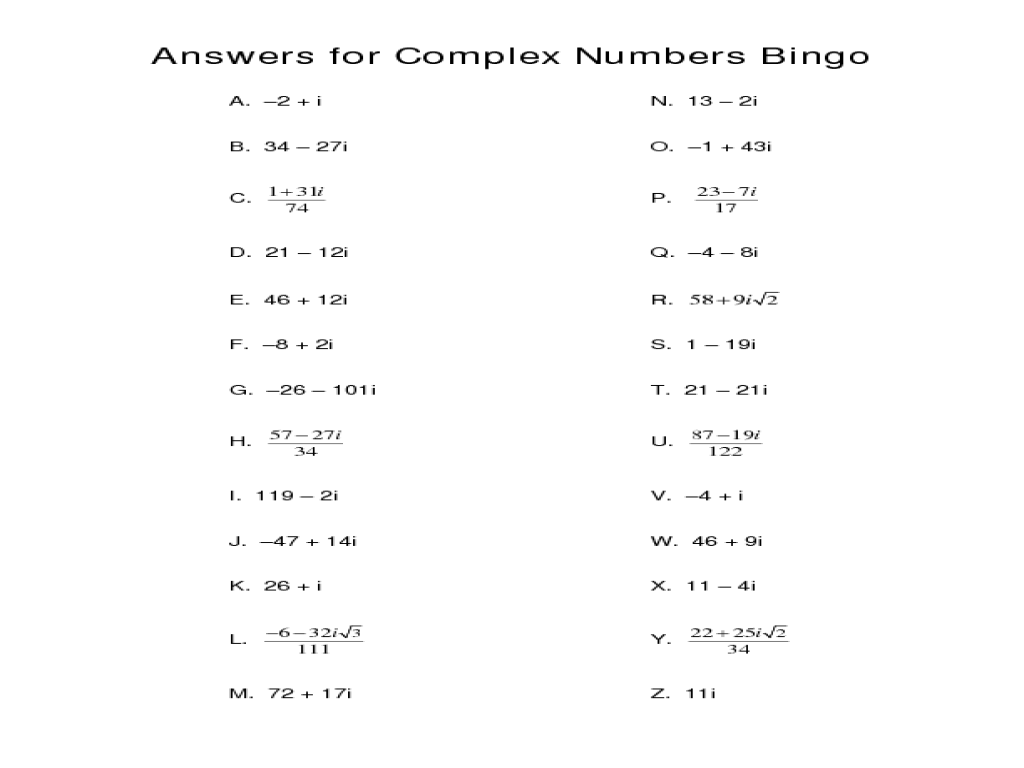 Worksheet  Adding And Subtracting Complex Numbers Worksheet