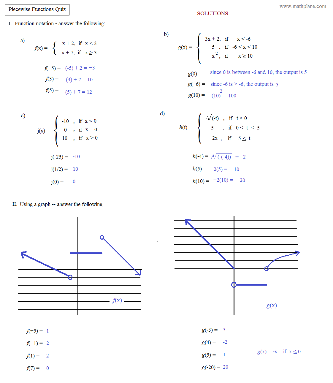 Worksheet  Graphing Piecewise Functions Worksheet With Answers