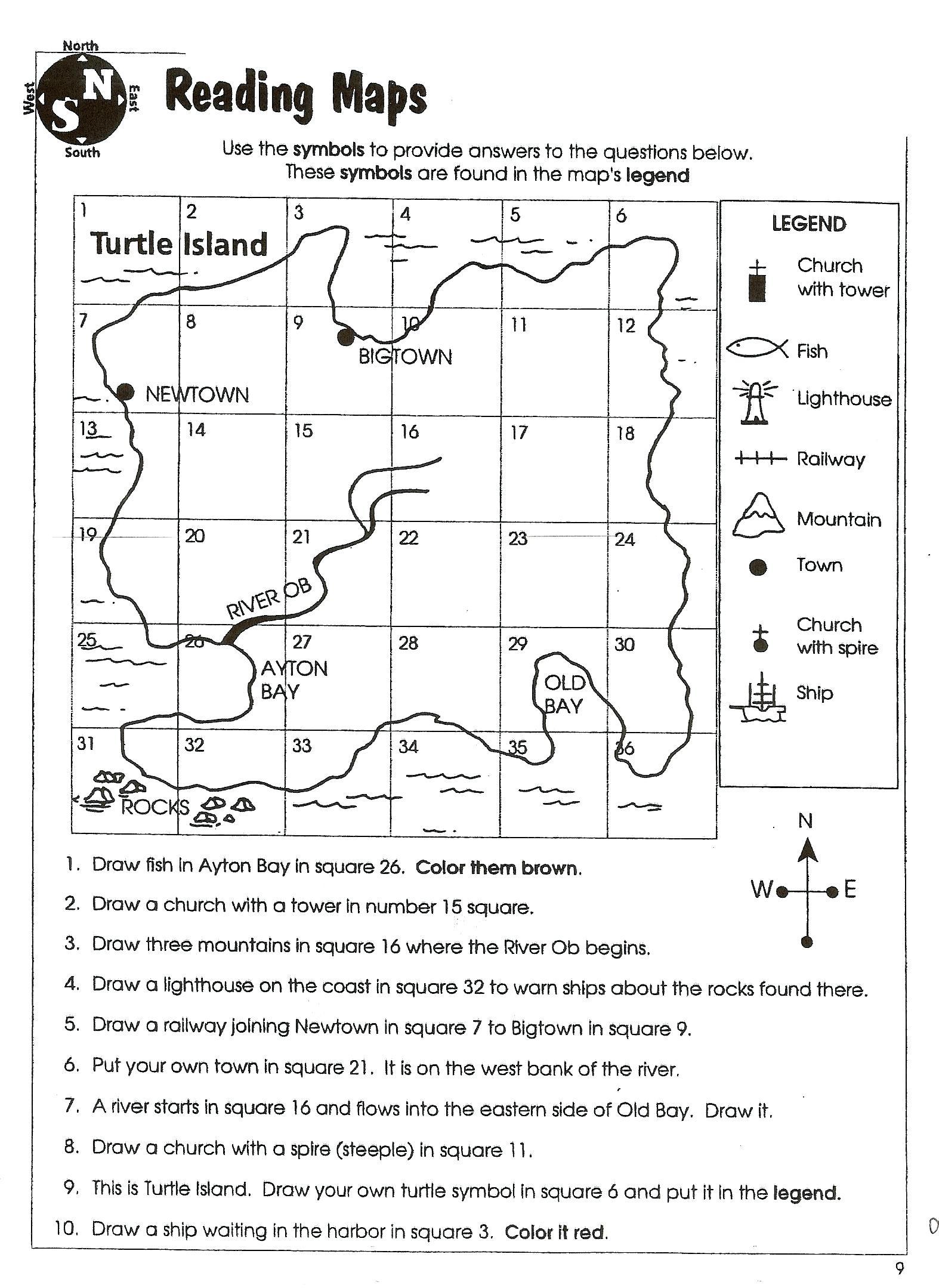 Worksheet  Map Skills Worksheets 2nd Grade Comprehension Worksheet