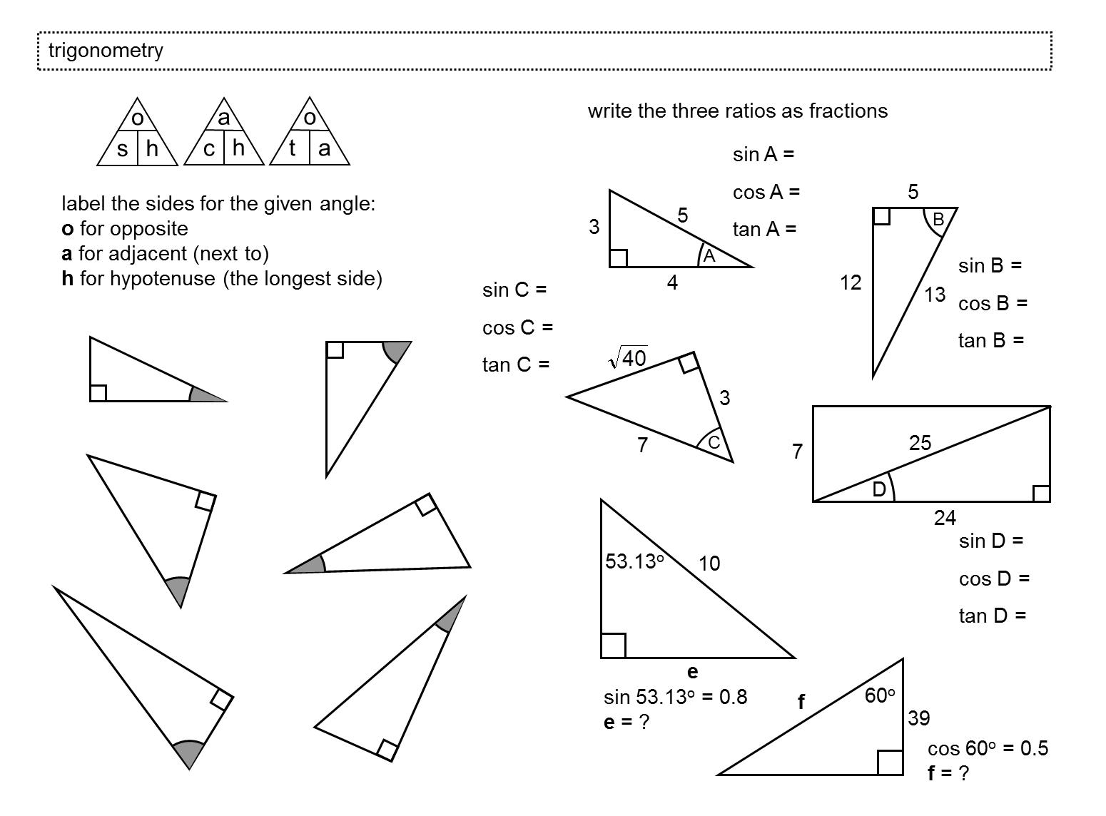 Worksheet  Trigonometry Worksheets  Hate Mysql Worksheet For Everyone