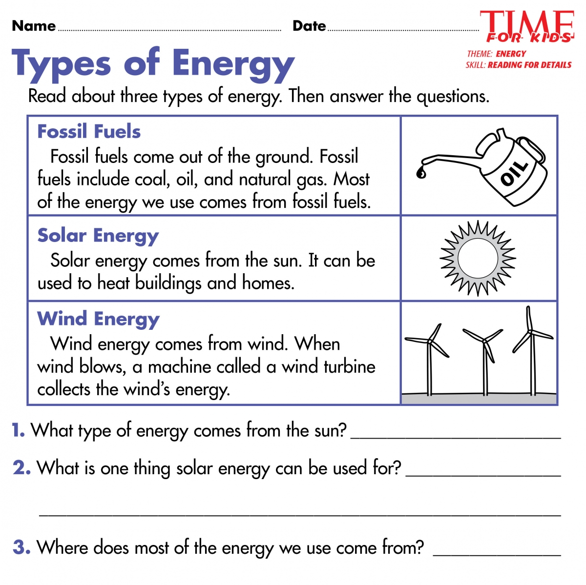 Worksheet Energy For Grade 2