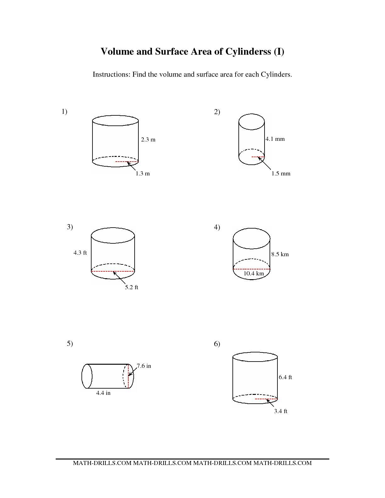 Worksheet Volume Of A Cylinder